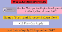 Mumbai Metropolitan Region Development Authority Recruitment 2017– 23 Land Surveyor & Court Clerk