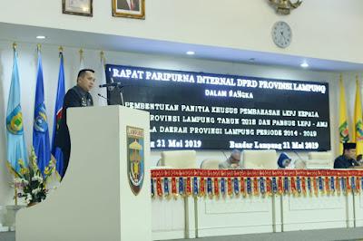 Gubernur Ridho Sampaikan LKPJ Provinsi Lampung Tahun 2018 dan LKPJ-AMJ Tahun 2014-2019