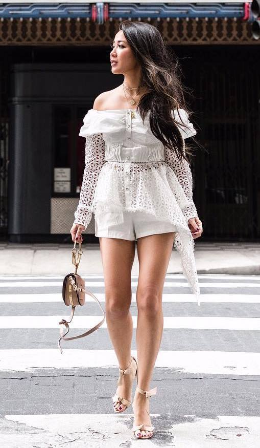 amazing outfit / white shorts + bag + lace off shoulder top + heels