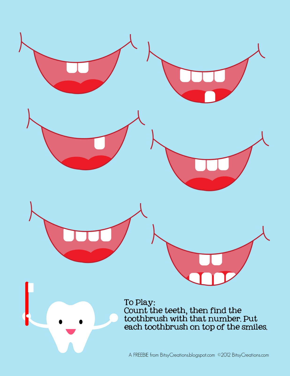 Bitsycreations Free Preschool Tooth Counting Game Printable