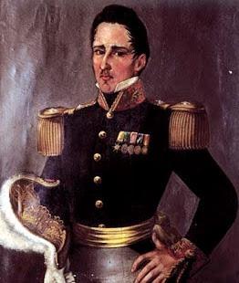 Dibujo de José María Córdova con ropa militar