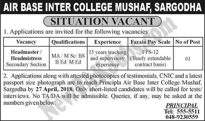Jobs for Headmaster, Headmistress , MA B.Ed Qualification