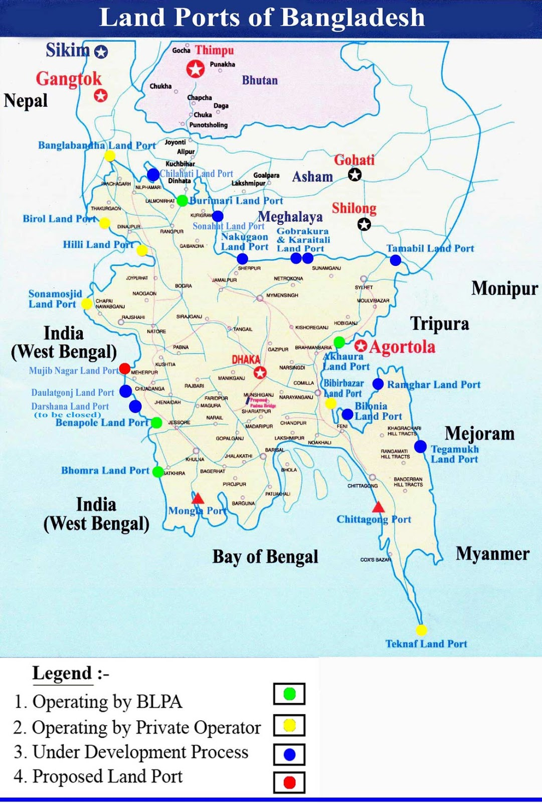 Landports Location Map Bangladesh