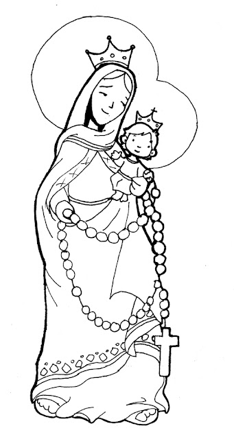 PARA COLOREAR: Dibujos de la Virgen del Rosario
