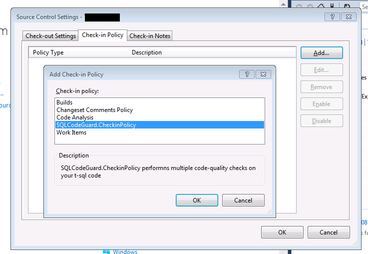Using SQL Code Guard TFS Checkin Policy with VS2013
