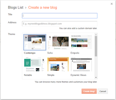 Create your First Blog in Blogger-- create new blog