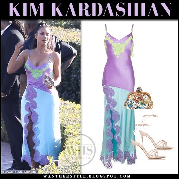 84adab60f2588 Kim Kardashian in purple and pale blue silk slip dress versace vintage.  Hollywood style march