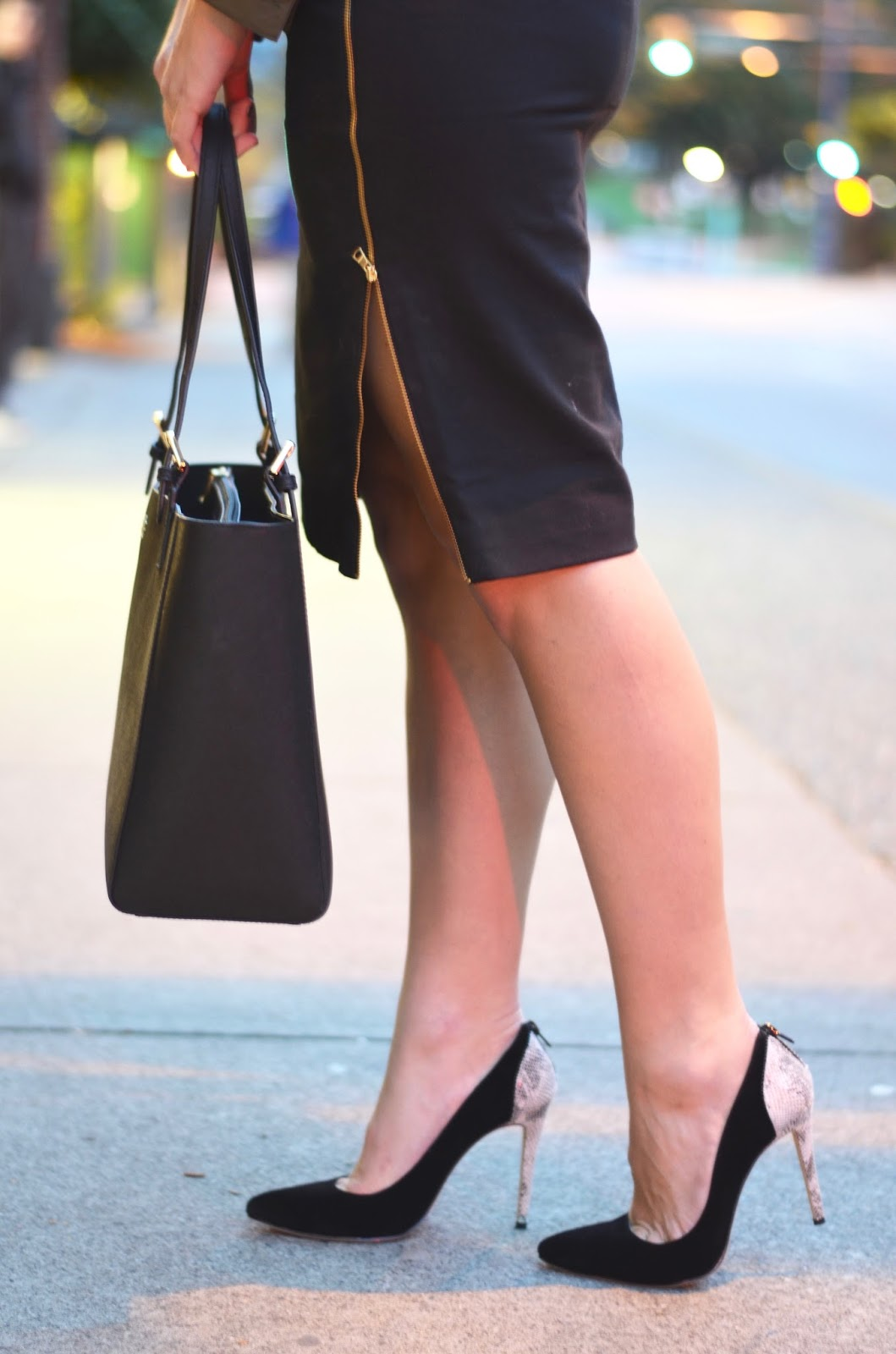 black pencil skirt with side zipper