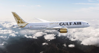 Source: Gulf Air. Plane in Gulf Air livery.