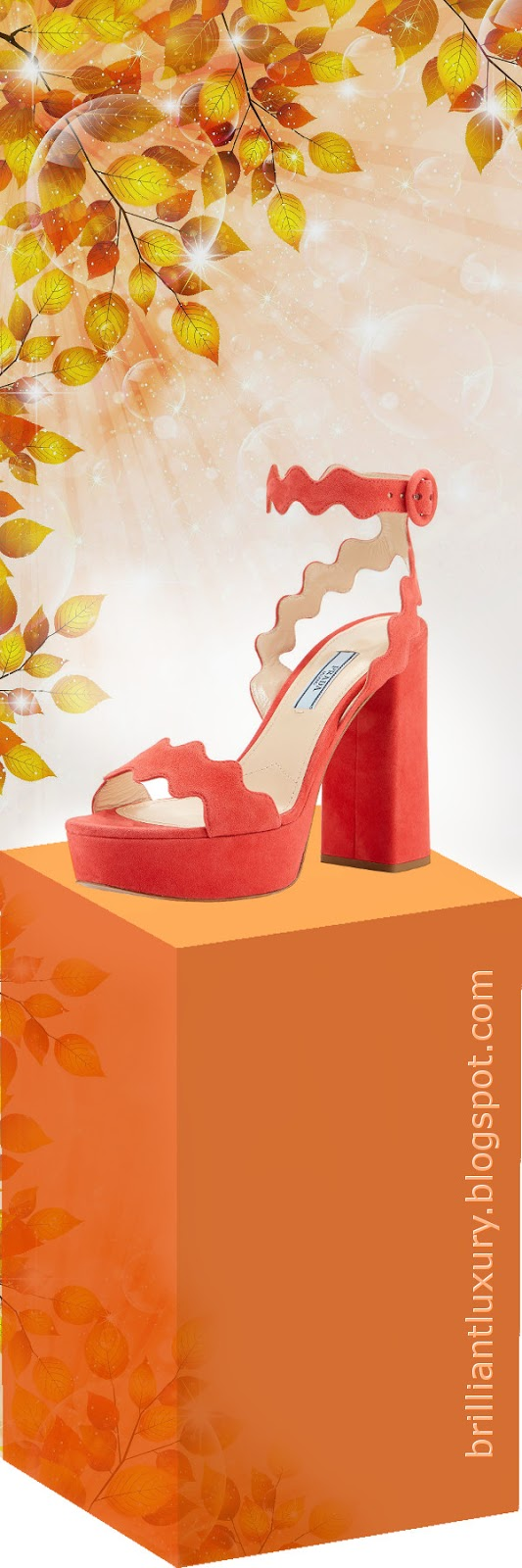 Brilliant Luxury ♦ Prada scalloped suede platform sandals #orange