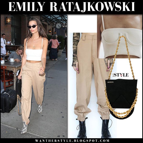 Emily Ratajkowski in white crop top and beige pants i.am.gia september 13 2017 new york fashion week