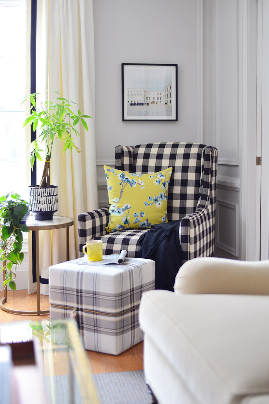 spring decor ideas for the living room, easter decor, traditional living room, buffalo plaid armchair