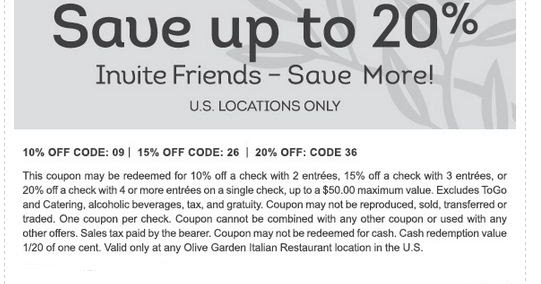 photo relating to Olive Garden Printable Coupons known as Olive Backyard Coupon codes 2018