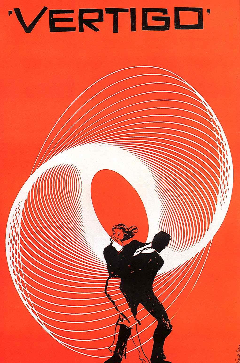 Saul Bass Vertigo poster in orange and black