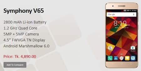 Symphony Xplorer V65 Smartphone