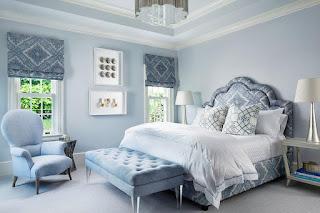Desain Kamar Tidur romantis warna Blue-Grey