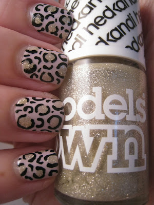 Models-Own-pink-nail-polish-Utopia-with-Bora-Bora-gold-glitter-nail-art