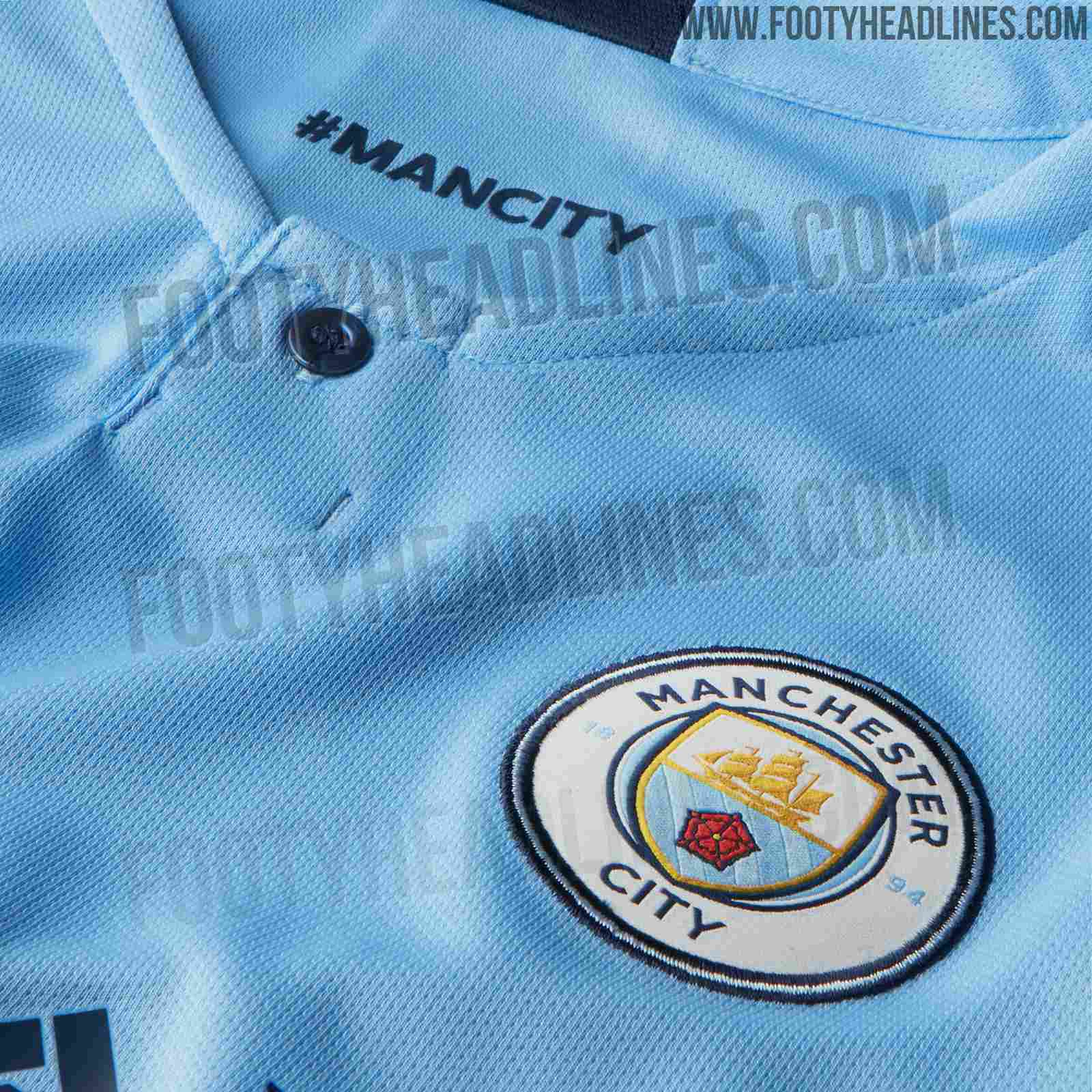 07e3c0eb7 A '#ManCity' print appears on the inside neck of the new home kit, while  'City' is written inside the dark blue neck tape on the outside.