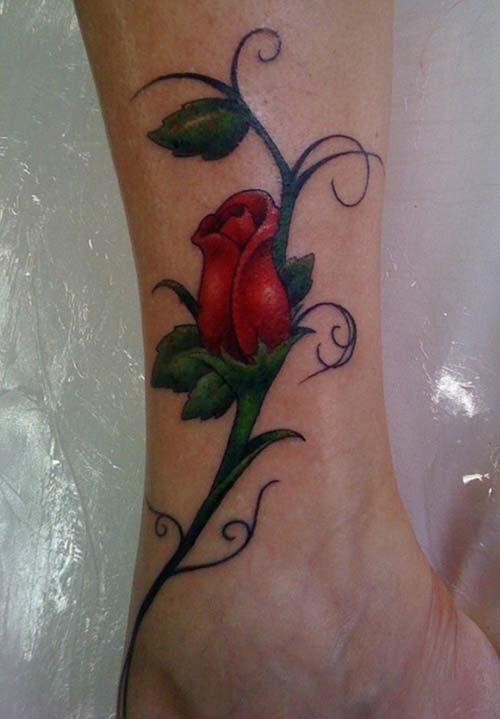 ankle red rose tattoo ayak bileği kırmızı gül dövmesi