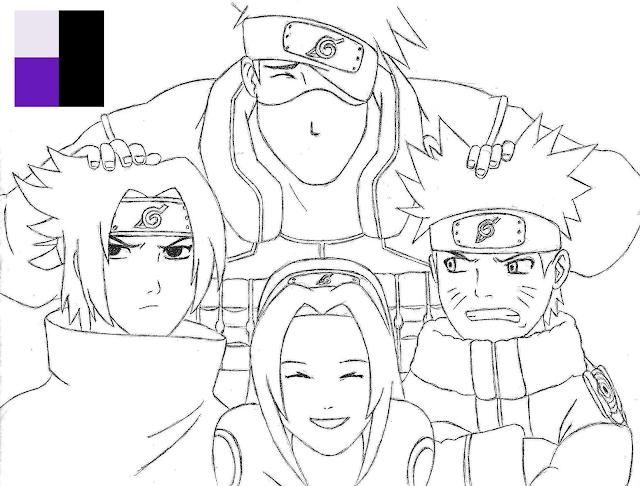 Kakashi, Sasuke, Sakura e Naruto (Placcido)