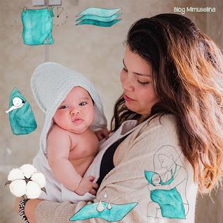 cuidado de la piel del bebé, capa de baño Mimuselina absorbente, secado rápido, algodón super suave