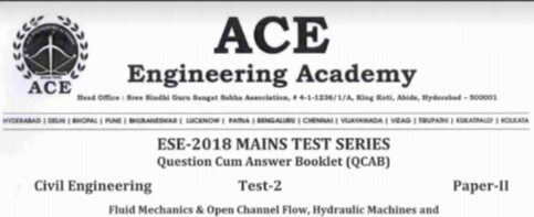 ESE PAPER-2 TEST-2 CIVIL ENGINEERING [ACE ACADEMY PUBLICATION]