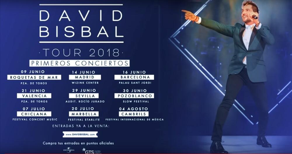David Bisbal Tour 2018, conciertos, entradas, fechas, lugares
