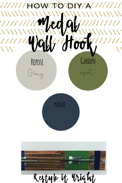 How to make a DIY wall rack with wood and coat hooks and paint samplesgood for coats, sports medals, and ribbons