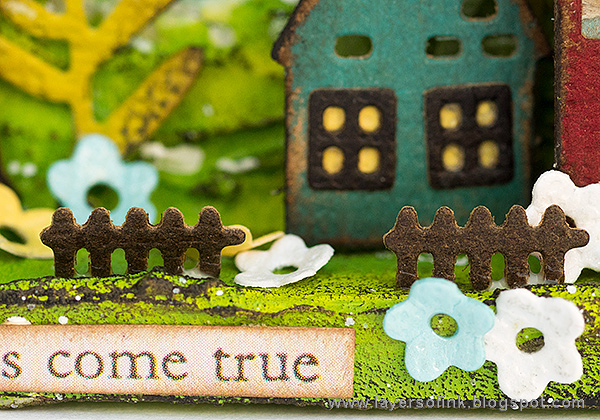 Layers of ink - Miniature House Shadow Box by Anna-Karin Evaldsson with Sizzix Tim Holtz Funky Floral