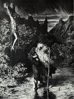 """L'ebreo errante, sublimemente illustrato dal Doré. """"L'ebreo errante è una figura leggendaria, protagonista di un racconto popolare europeo che nasce, molto probabilmente, nel periodo del Basso Medioevo.  Si tratterebbe di un ebreo ignoto che schernì Gesù durante la sua Passione, non avendo riconosciuto in lui il messia. Per tal motivo Gesù lo avrebbe maledetto, costringendolo a vagabondare per sempre sulla terra, senza riposo e senza poter morire, fino alla fine dei tempi"""". Fonte: Wikipedia."""