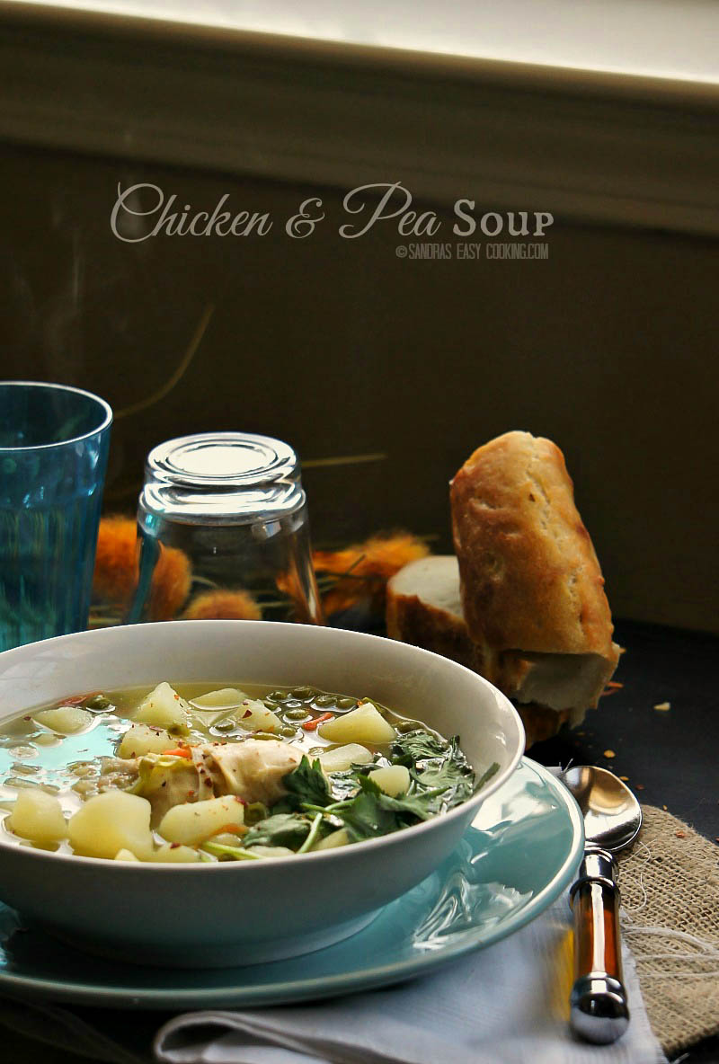 Homemade #Chicken and Pea #Soup #recipe www.sandraseasycooking.com
