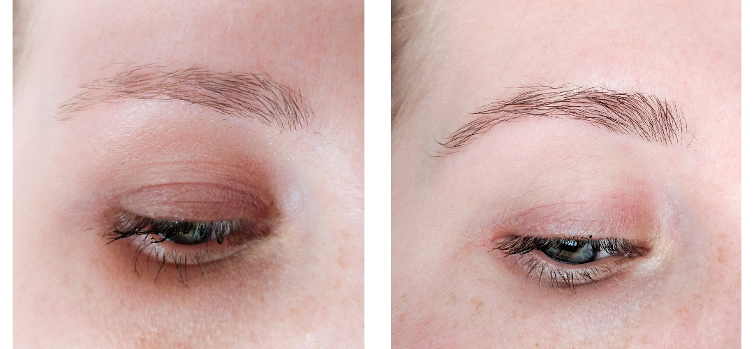 An image showing before and after the Blink Brow Bar Shape and Tint