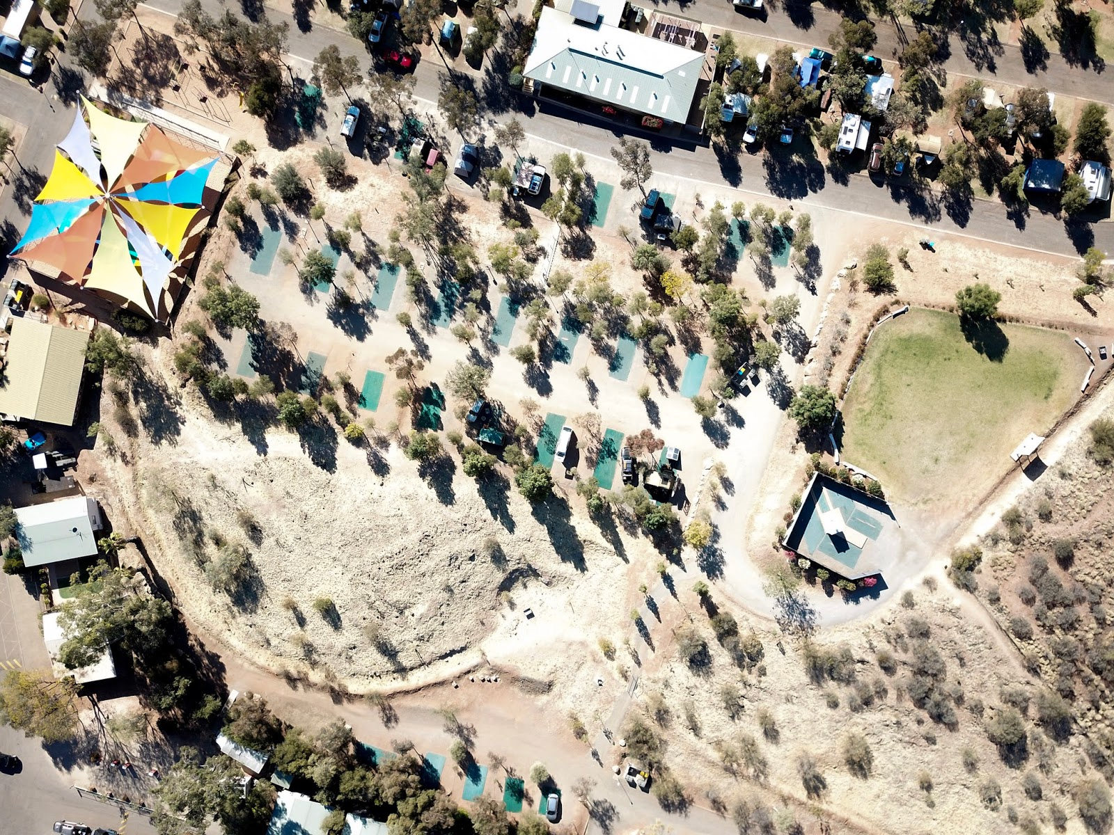 aerial view of alice springs caravan park