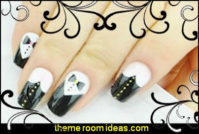 black white nail design ideas-nail art black and white False Nails Stiletto Nails