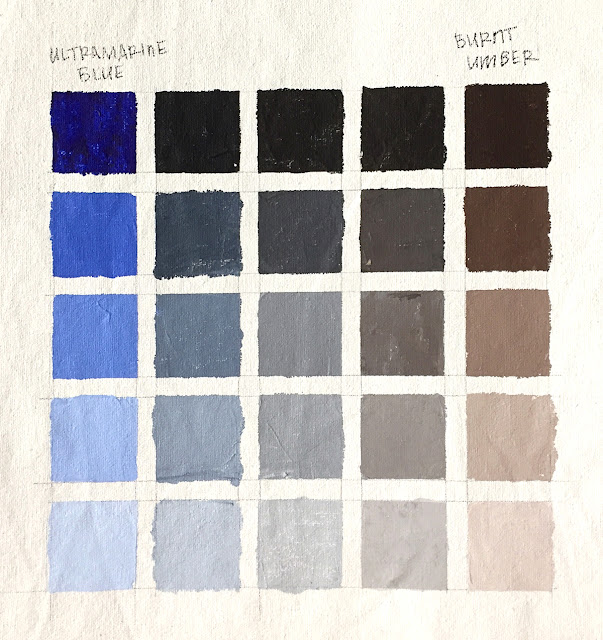 limited palette color chart with ultramarine blue and burnt umber acrylic paint