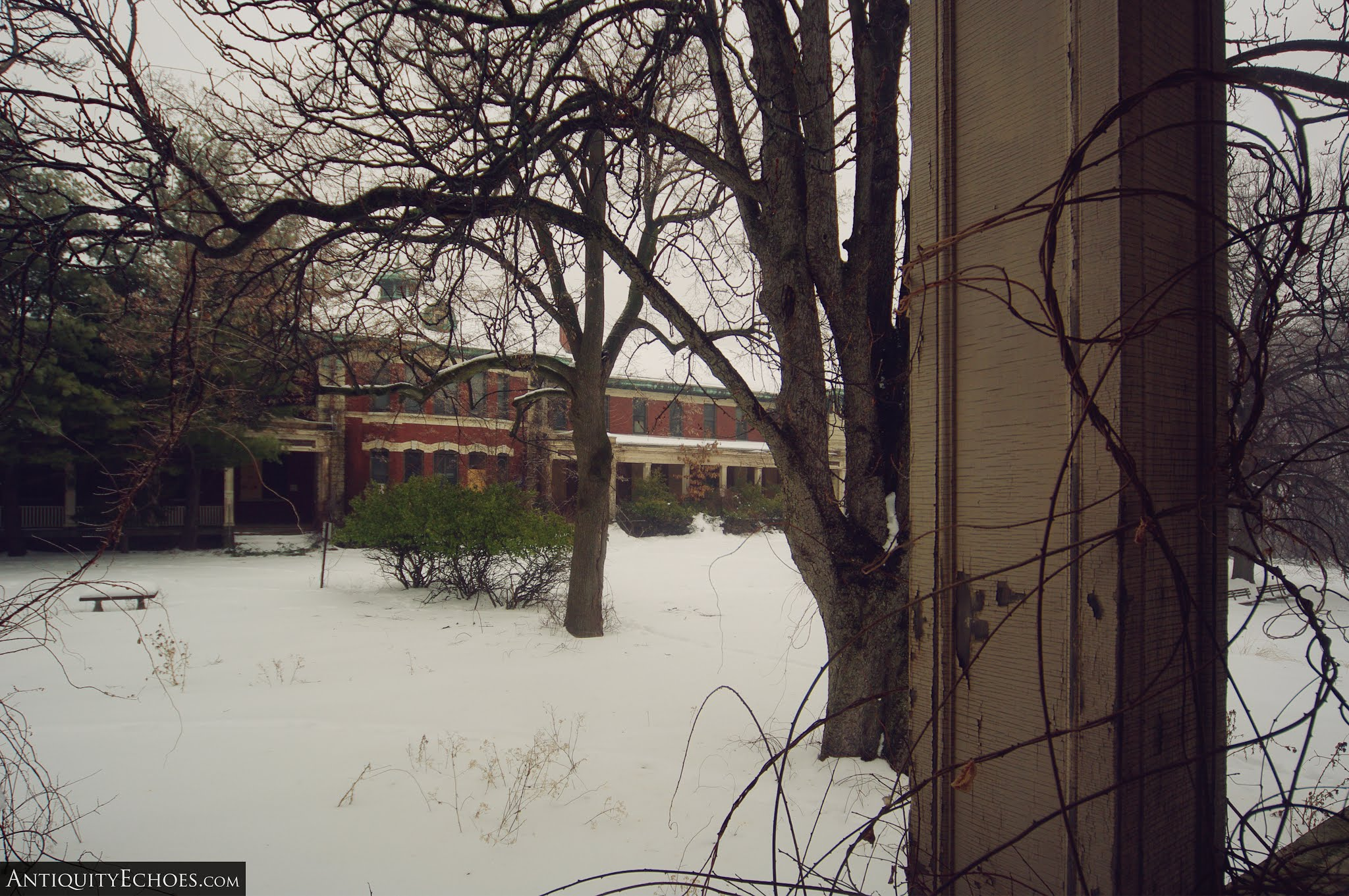 Overbrook Asylum - A Snowy View from a Porch