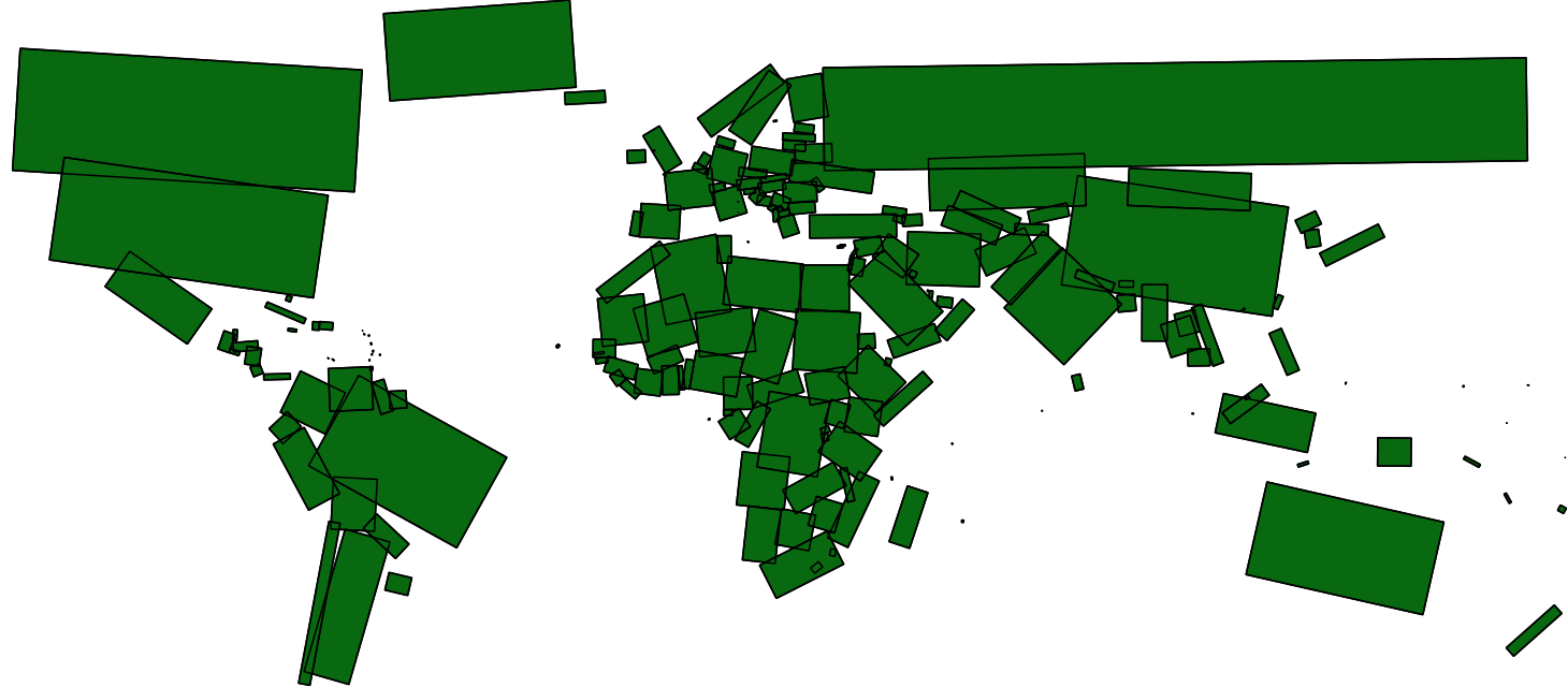 World map by rectangular approximations of country area