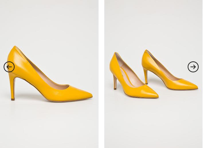 Solo Femme - Pantofi cu toc inalt de ocazii eleganti galbeni din piele