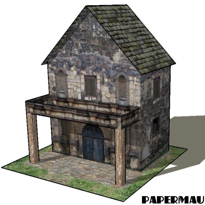 Papermau the stone house with balcony paper model by for Balcony models