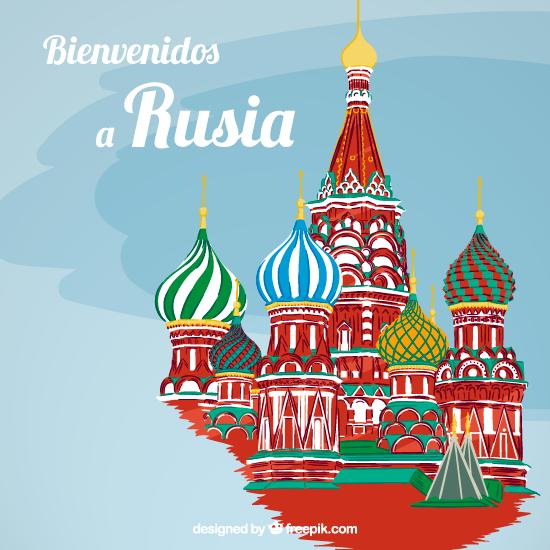 colorido cartel de la catedral de San Basilio, con la leyenda Vienvenidos a Rusia