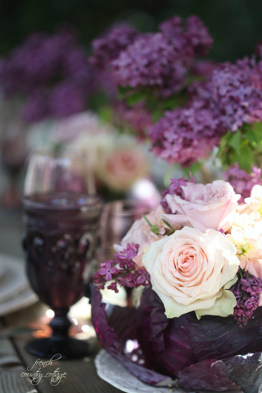 Entertaining~ Lilacs, roses & purple cabbage table setting - FRENCH ...