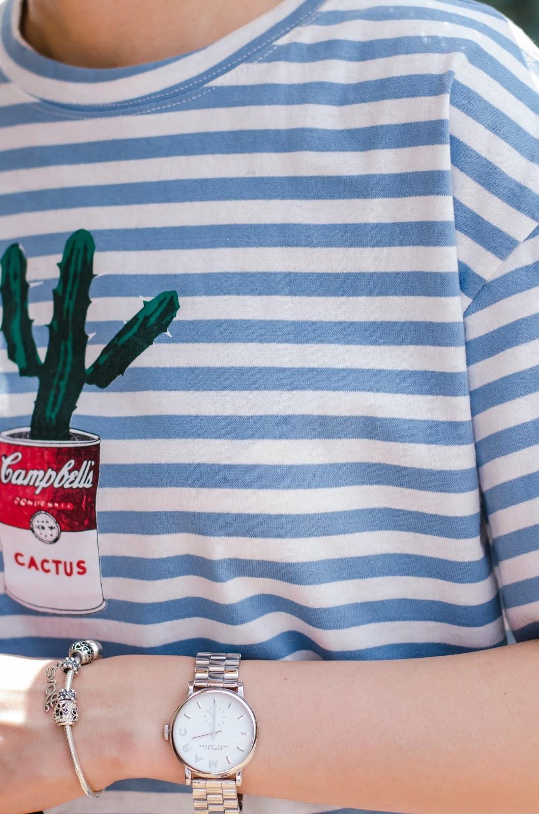 fashion blogger diyorasnotes diyora beta lookoftheday summer outfit 2017 striped pants striped tshirt white mules