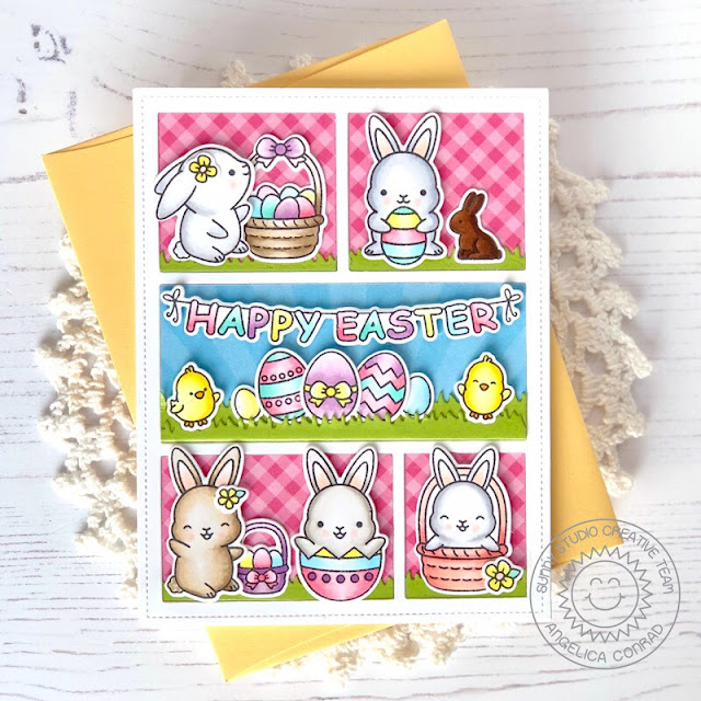 Sunny Studio Stamps: Chubby Bunny Comic Strip Everyday Dies Happy Easter Card by Angelica Conrad