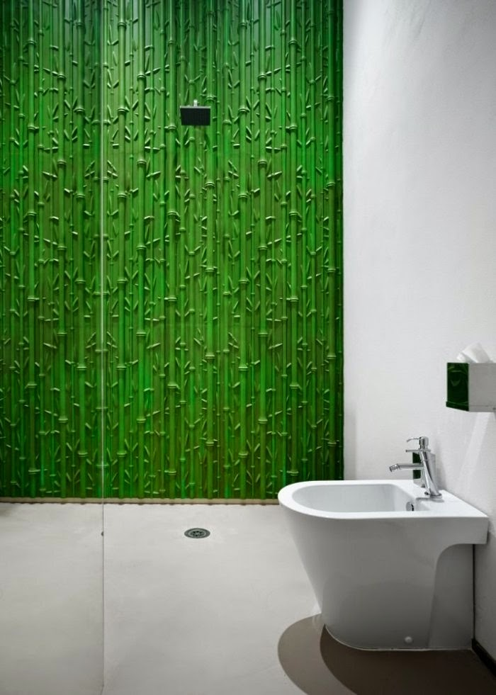 3D wall panels with Bamboo in green color