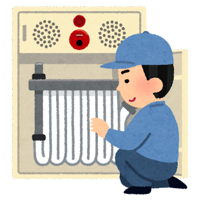 消火栓の点検をする消防設備士のイラスト