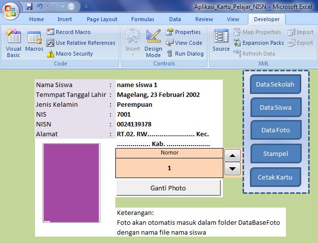 Aplikasi Kartu Pelajar Dan Nisn Excel Portal Info Guru