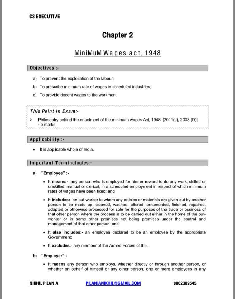 notes on minimum wages act The minimum wages act, 1948 is a labour welfare legislation to prevent  in  the detailed notes that follow the rates (see annexure 1) the notification also.