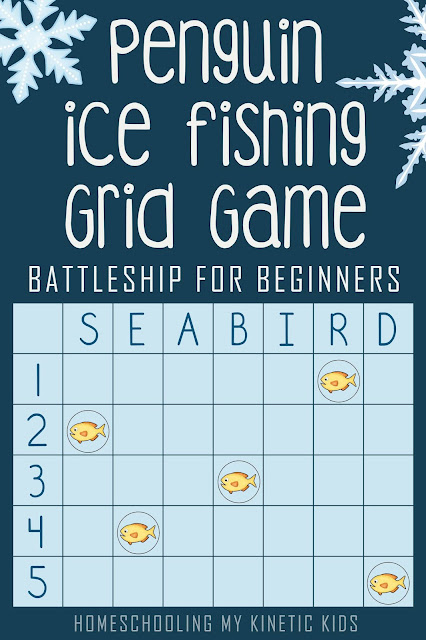 Penguin Grid Game // Coordinates for Kindergartners  // Battleship for Beginners // Homeschooling My Kinetic Kids // math game // geometry // STEM // file folder game