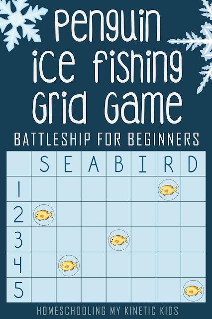 Penguin Grid Game // Coordinates for Kindergartners  // Battleship for Beginners // Homeschooling My Kinetic Kids // math game // geometry // STEM // file folder game
