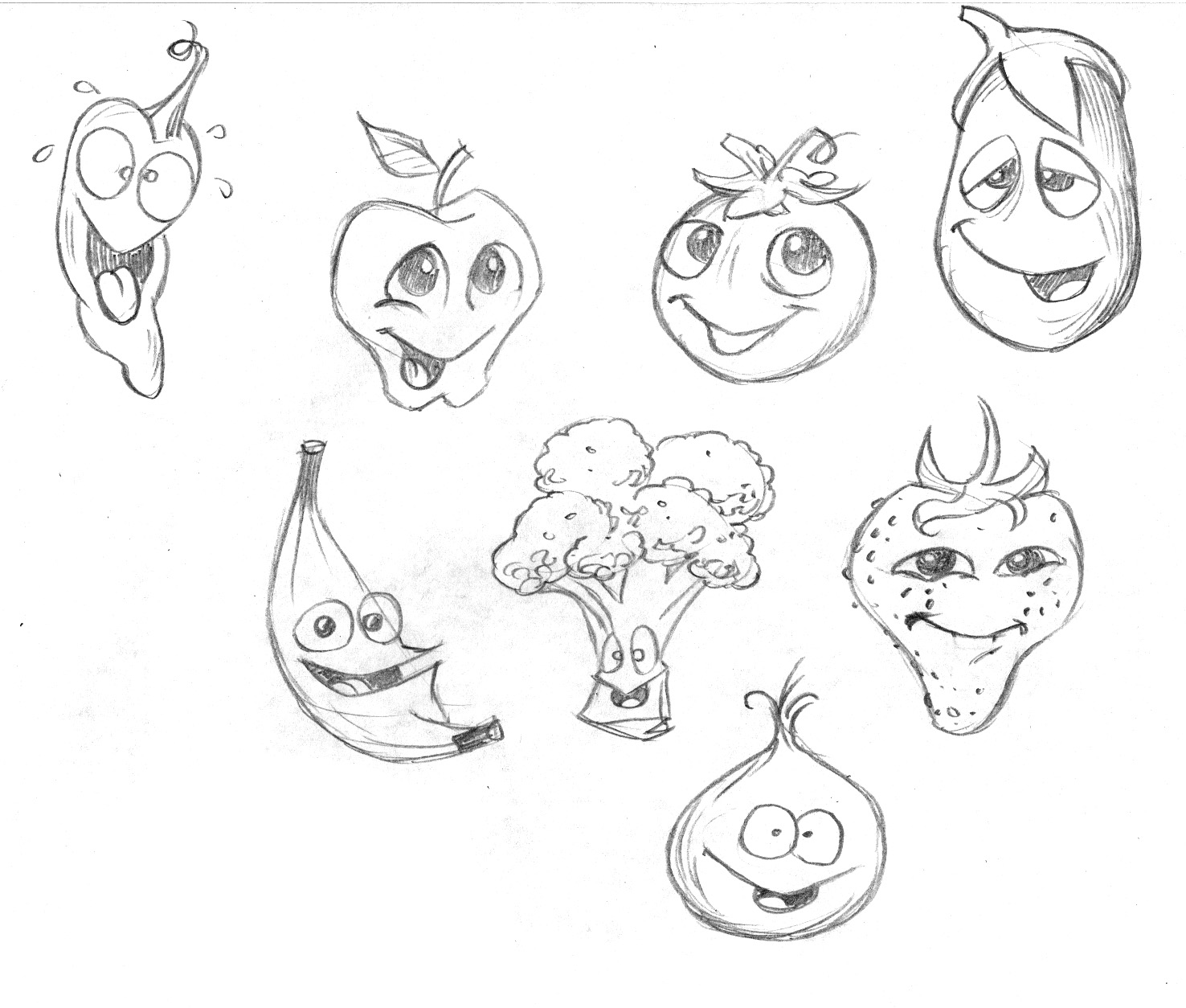 Child Fruit Coloring Pages